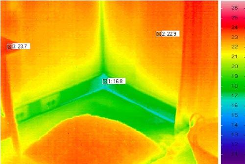 De infraroodfoto geeft de warmteverliezen door de aansluitingen weer (Bron Adviesburo Nieman)
