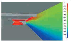 4/5. Visualisatie van temperatuur- en rookverspreiding met behulp van CFD-berekeningen.