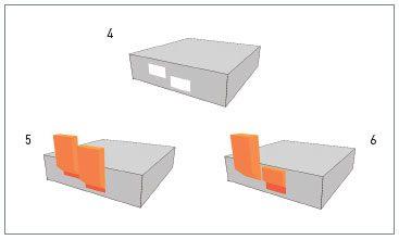 4. Ramen op verschillend niveau. - 5. Huidige norm: identieke vlammen bij alle ramen. - 6. Herziene norm: hogere/dikkere vlam bij bovenste raam