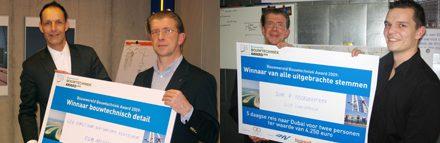 Hoofdredacteur Peter de Winter (midden 2x) met winnaars Victor de Leeuw van EGM Architecten (links) en Ricardo Noordermeer (rechts)