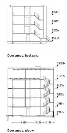 Flatwoningen vergroot door uitbouw for Trap doorsnede