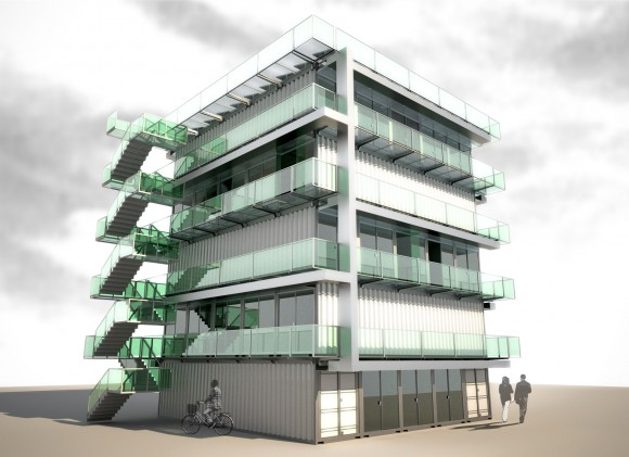 Modulair systeem van gestapelde containers » Bouwwereld nl