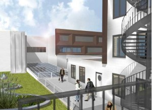 Binnengebied op 3e verdieping: daktuin met lichtkoepels, ontsluiting met binnenstraat naar de woningen