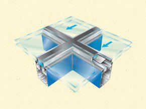 3D-afbeelding van het structurele gevelsysteem.