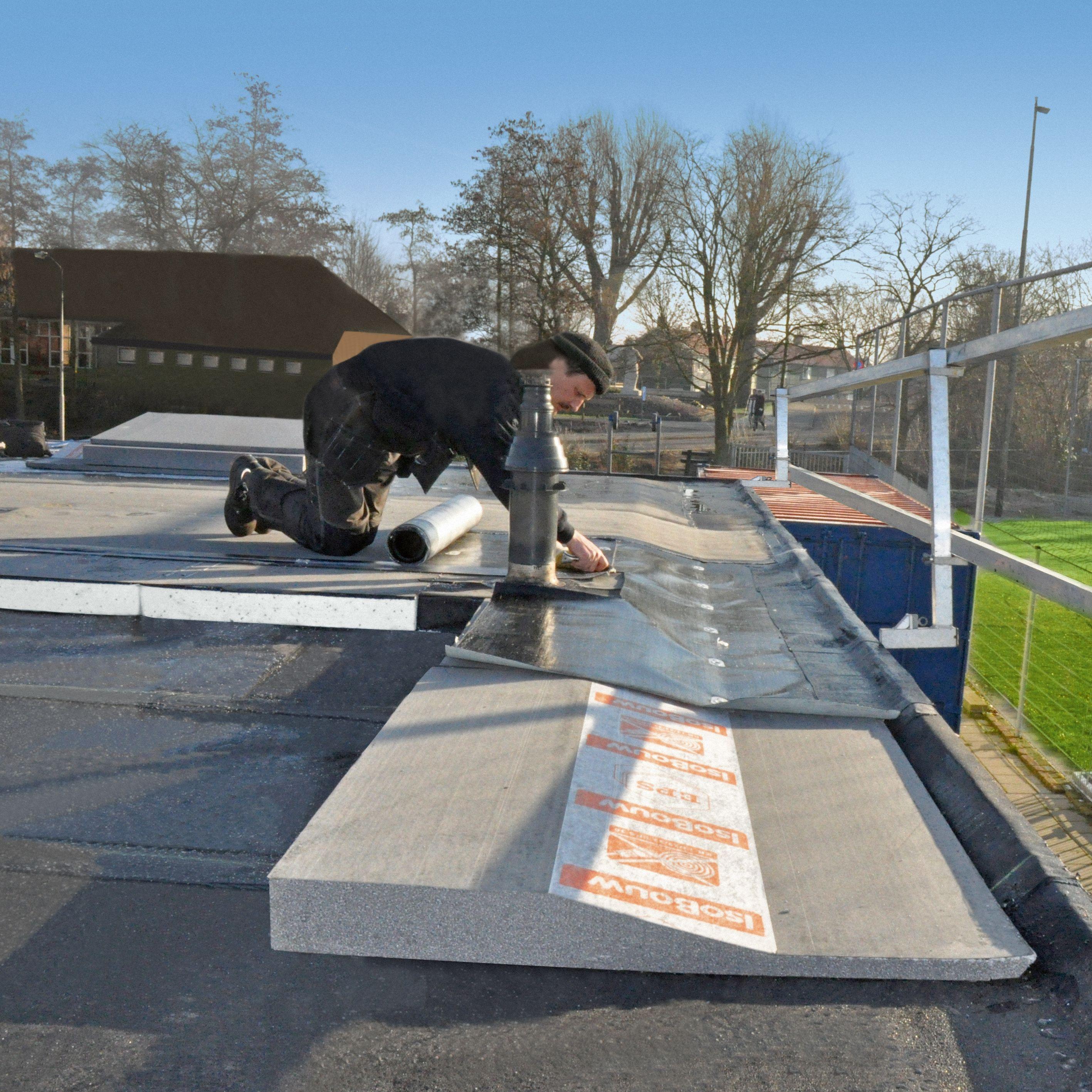 Isolatieplaat met hoogteverloop voor renovatie plat dak - Trap voor daken ...