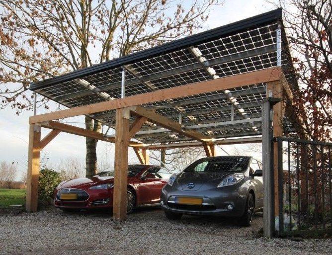 Carport met geïntegreerde pv-panelen » Bouwwereld.nl