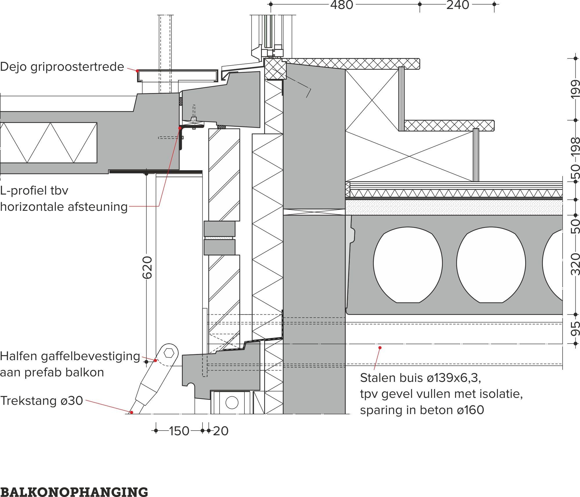 Kantoor omgebouwd tot woongebouw for Trap doorsnede