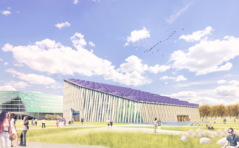 Het gebouw heeft een lichthellend dak dat voorzien is van zoveel mogelijk PV-panelen.