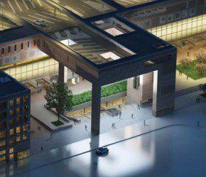 De hoofdentree aan de zuidzijde vormt de toegang naar de OVT Breda en het parkeerdek op het dak, dat zich op een hoogte van circa 20 meter over alle sporen uitstrekt.