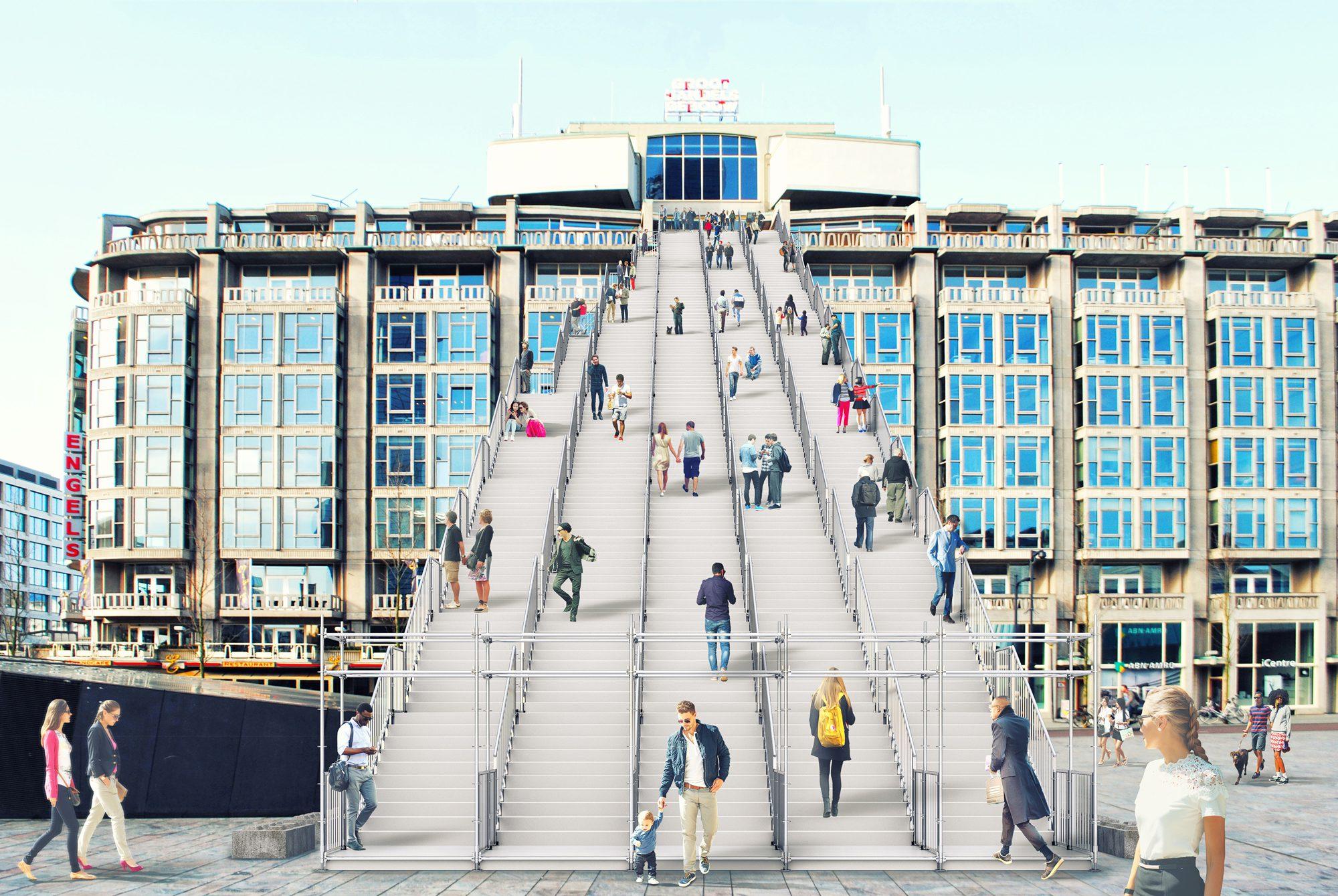 Gigantische trap naar dak groothandelsgebouw » bouwwereld.nl