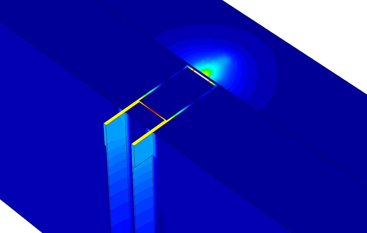 3D-warmtestroommodel (flux) voor bepaling invloed metalen doorbreking in isolatielaag op Rc-waarde.