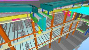 Een beeld vanuit het BIM-systeem. Het gebouw wordt niet alleen fysiek, maar ook digitaal opgeleverd. AVL ontvangt een compleet up-to-date BIM-model van het hele gebouw. Dit met het oog op het toekomstige onderhoud.