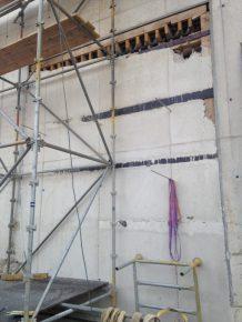 Bouwfout: 'Sparing vol beton'.