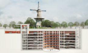 Ondergrondse parkeergarage in Leiden