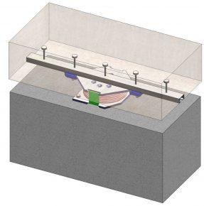 De base isolation wordt geplaatst tussen de dubbele funderingsbalk