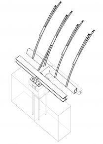 3D-tekening aansluiting glaskap op bestaand metselwerk. Voor de verankering zijn 280 chemische verankeringen gebruikt.