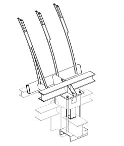 3D-tekening aansluiting glaskap op bestaande staalconstructie.