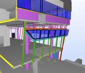 Detail uit het BIM model met de gevelconstructie