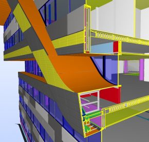 Detail uit het BIM model met de opbouw van de gevelband.