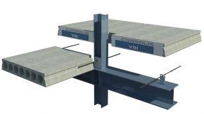 Kanaalplaatvloer remontabel opgelegd op staalconstructie: kolom-plaat-ligger