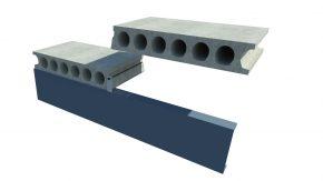 Kanaalplaatvloer remontabel opgelegd op staalconstructie: kipsteun randbalk
