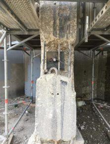 Nadat de roest mechanisch is verwijderd, is CorrVerter aangebracht op de metalen oppervlakten van de toren.