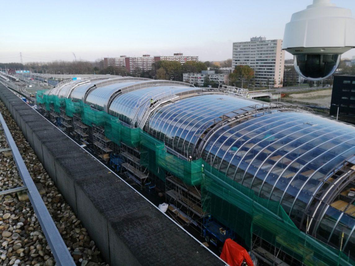 koudgebogen glas, Langgerekte kap Gebogen glas Station Noord