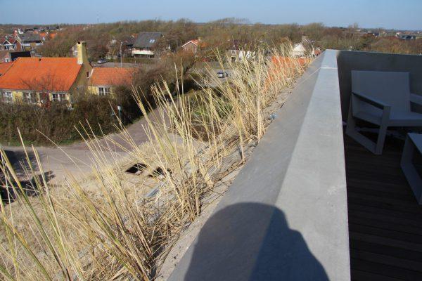 De helling van 45 graden en de beplanting van helmgras staan garant voor privacy tussen de verschillende buitenruimtes