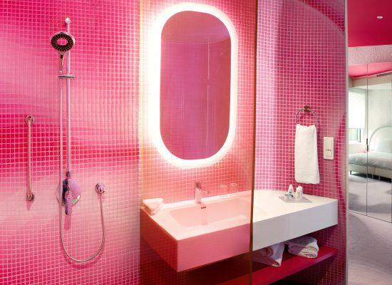Op de wanden van de sanitaire ruimten is een felgekleurde kunststof bekleding aangebracht met een mozaïektegelprofiel