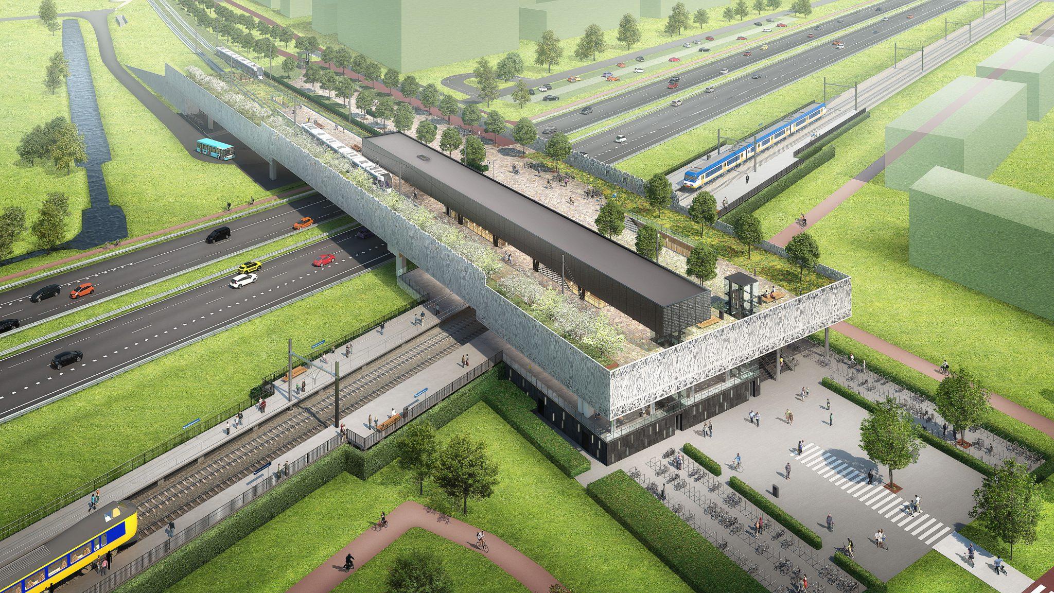 Impressie Station Zoetermeer Groen over A12