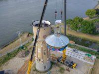 Plaatsing toren Nieuwe prefab kroon op Zwijndrechtse watertoren01