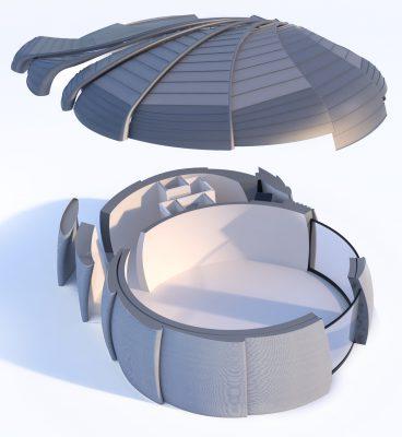 De Vergaderfabriek heeft de vorm van een rotor.