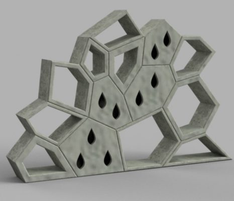 De groene façade van Saxion Hogeschool bestaat uit een soort 3D-gevormde puzzelstukjes.