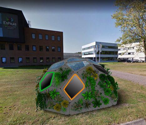 Saxion Hogeschool werkt aan het printen van een Green Dome met dubbelgekromde schaaldelen.