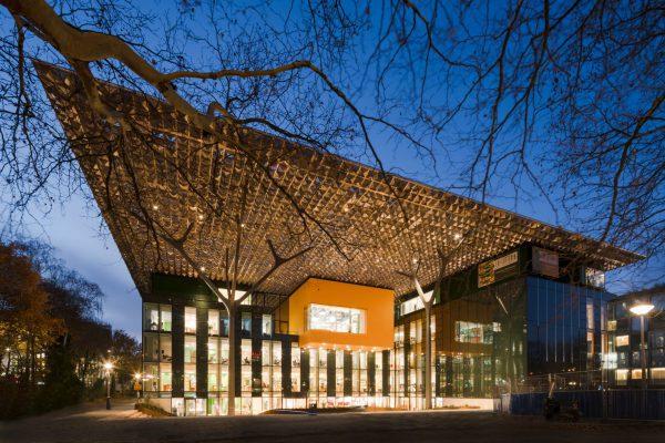 Op het verdiepte entreeplein dragen stalen bomen met lange takken het symbolische bladerdak. De oranje studio wordt met hout bekleed.