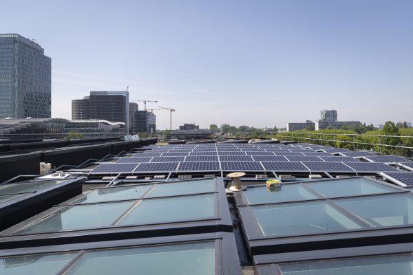 Het dak is optimaal benut voor daglicht door 184 glazen lichtopeningen en voor energieopwekking middels 951 PV-panelen Fotografie: Jasper Juinen