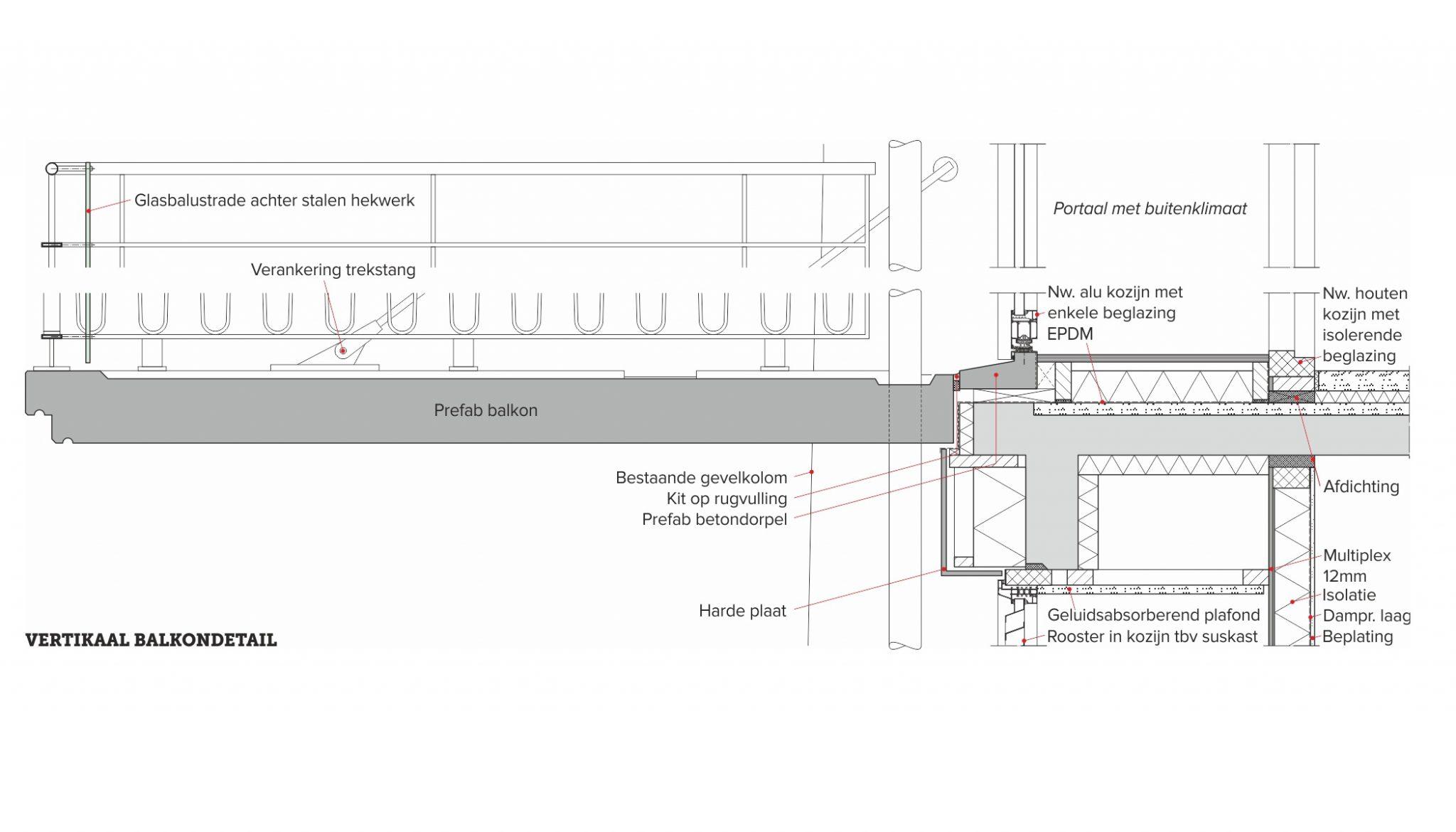 balkonconstructie, detail van de dag