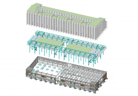 De betonnen bovenbouw steunt af op een stalen tafelconstructie die met 15 meter lange kolommen door de bestaande gebouwen heen prikt. (Beeld: Mei architects and planners)