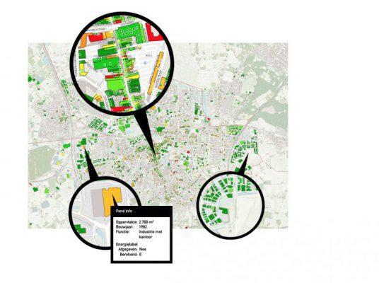 Delen uit de Vergroeningskaart Utiliteitsgebouwen Nederland©, voorbeeld: Breda.