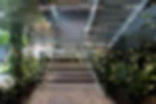 De trap in het nieuwe deel van The Hinge is omgeven door een tropische tuin