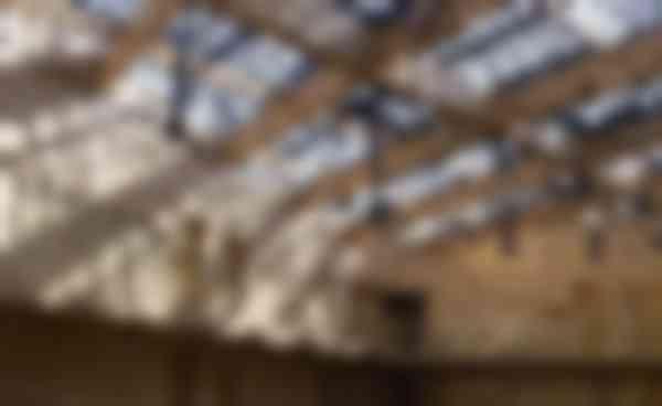 Ter plaatse van de grootste overspanning in het atriumdak is een houten ligger versterkt door een onderspannen staalconstructie van dunne staven